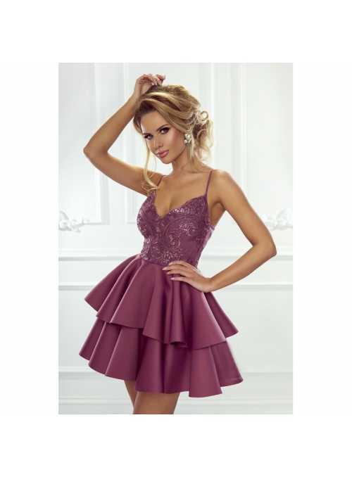Mini šaty Leila, baklažánové