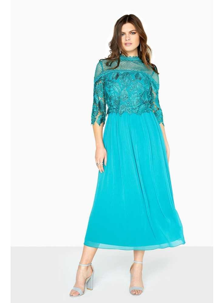 "860e78613087 Plisované midi-long šaty ""Jungle lace"" - Dadoo"