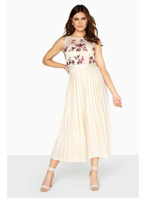 "Pleated midi dress long ""Beige Flower"""