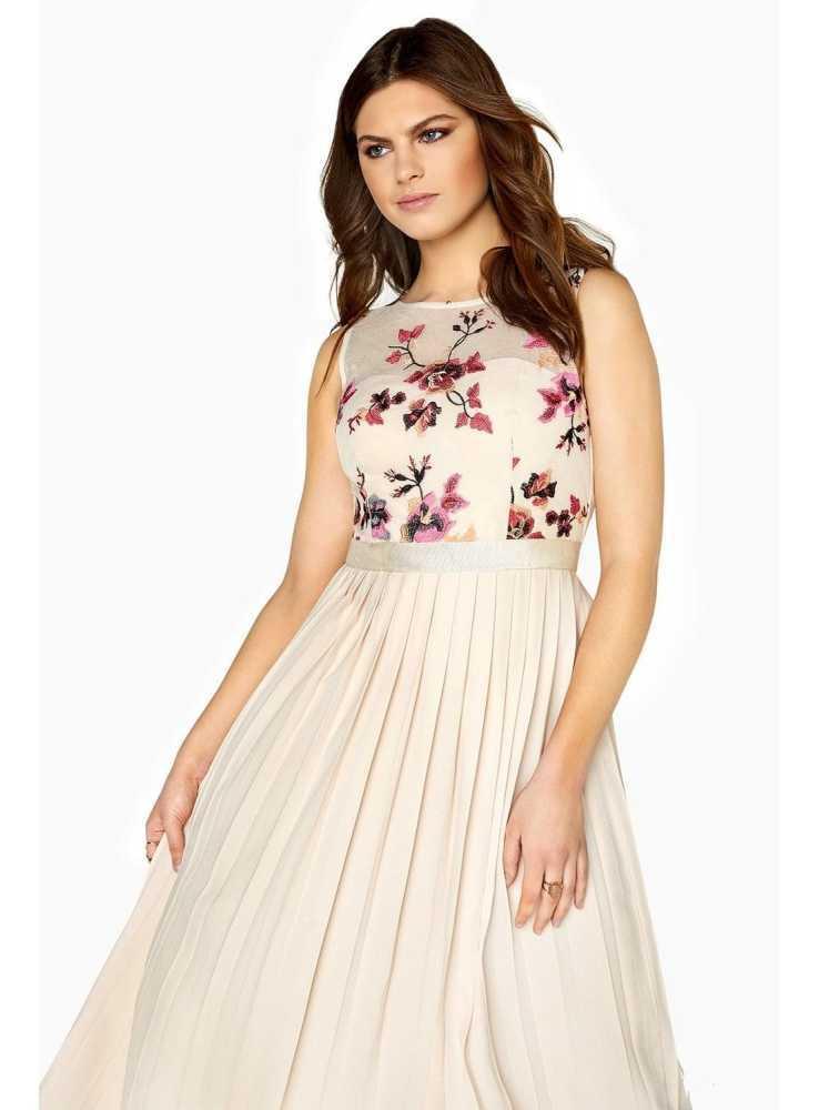 "883987c30376 Plisované midi long šaty ""Beige flower"" - Dadoo"
