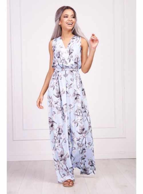 """Krásne nebesky modré maxi šaty """"JARNÝ KVET"""""""