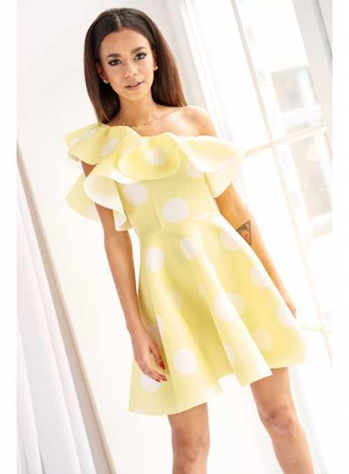 "Krátke šaty ""FRESH YELLOW"" - s volánom"