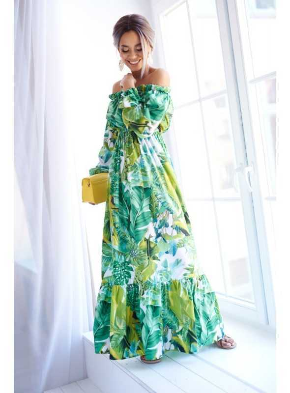 """Šaty """"GREEN JUNGLE""""- vzorované dámske maxi šaty"""