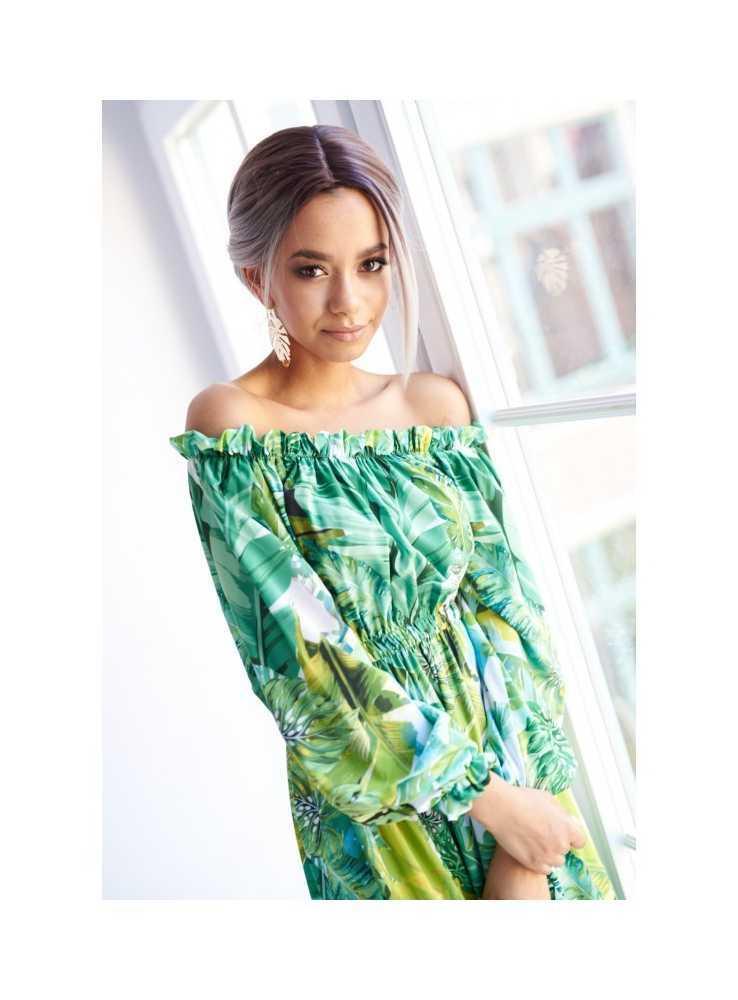 """81725d71a033 Šaty """"GREEN JUNGLE""""- vzorované dámske maxi šaty - Dadoo"""