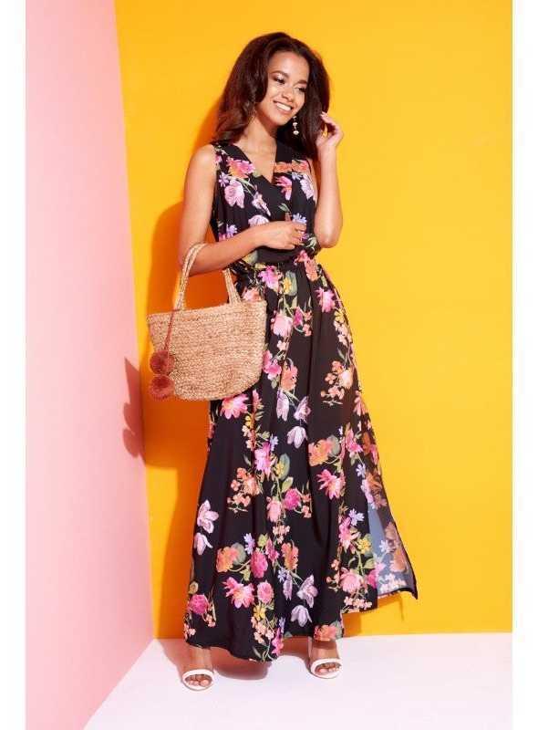 """9bf436764689 Znížená cena Krásne čierne šaty """"MAXI BLACK FLOWERS"""""""