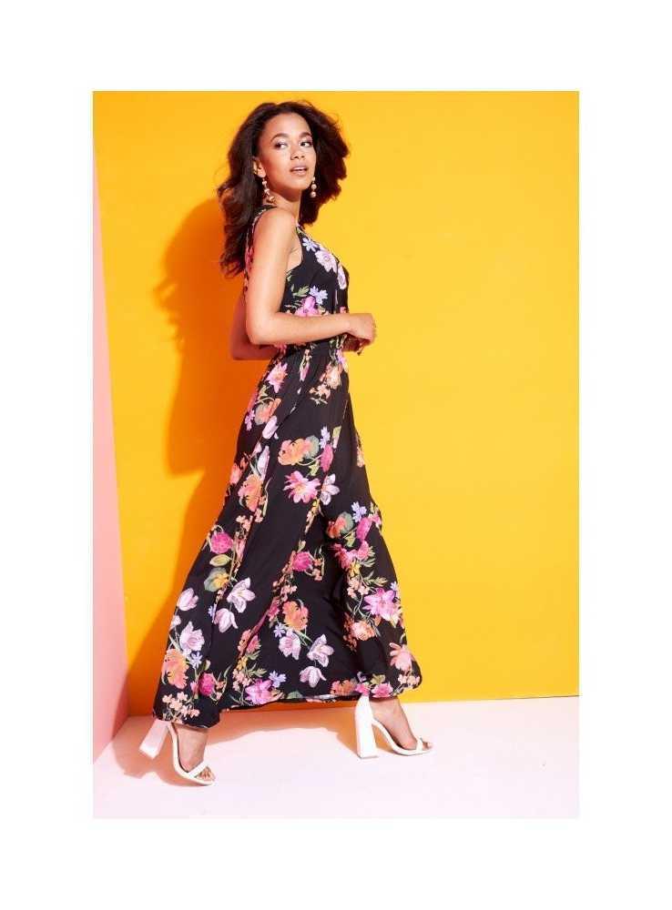 """600f46855fdf Krásne čierne šaty """"MAXI BLACK FLOWERS"""" - Dadoo"""