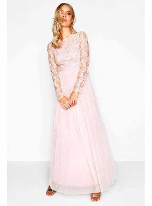 "Maxi šaty ""Pinky champagne"" s dlhým rukávom"
