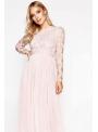"""PREDOBJEDNÁVKA Maxi šaty """"Pinky champagne"""" s dlhým rukávom"""