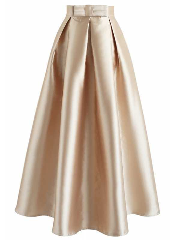 MAXI zlatá sukňa s mašľou