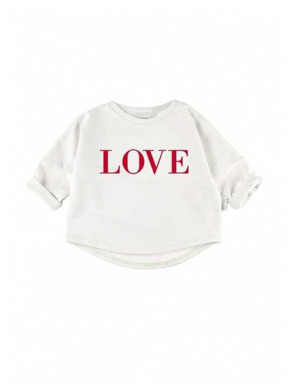 "biela detská mikina ""RED LOVE"""