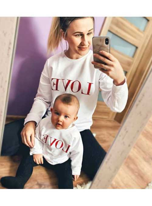 "White women's sweatshirt ""RED LOVE"""