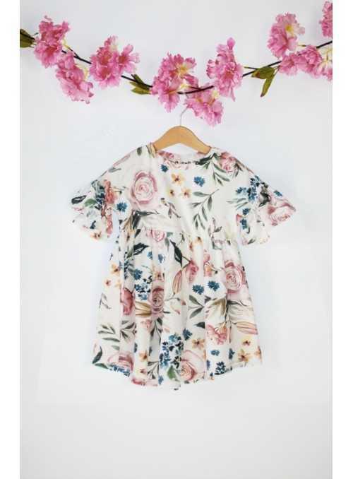 Detské šaty ružová záhrada