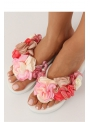 Women's flip-flops with flowers, white