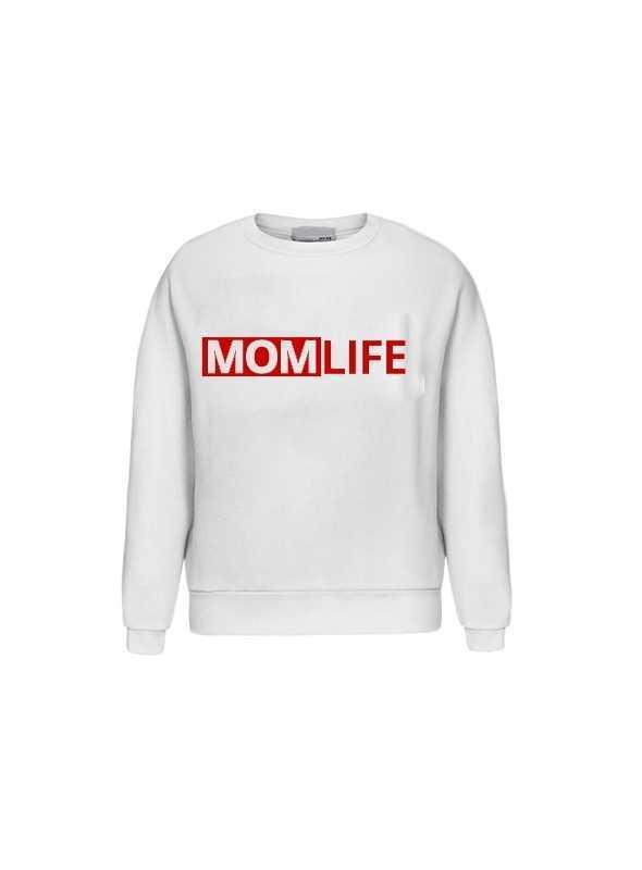 "biela dámska mikina ""MOM LIFE"" -S"