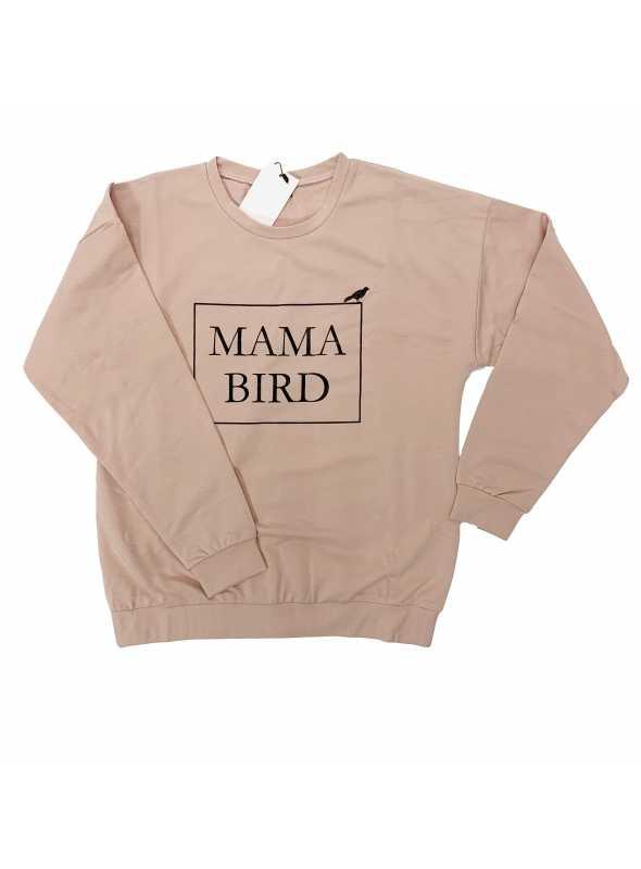 "ružová dámska mikina ""MAMA BIRD"" - S"