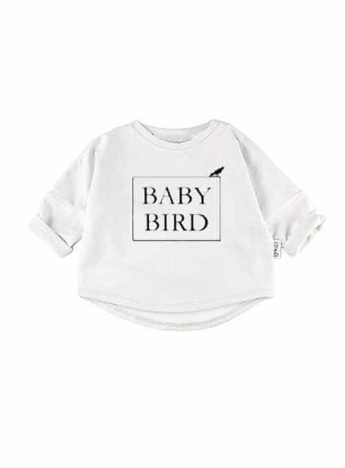 BABY BIRD – detská mikina, biela