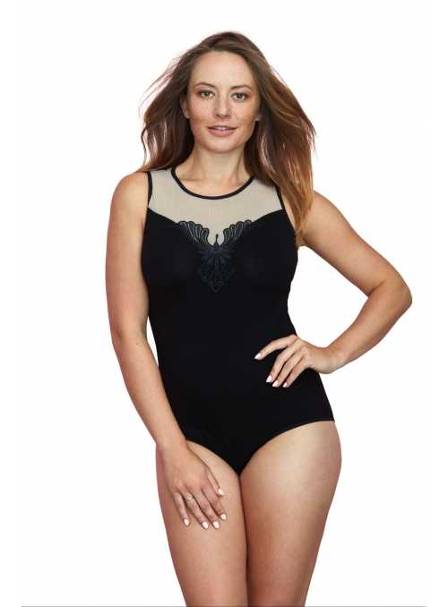 Ladies bodysuitsuit with the application at the neckline