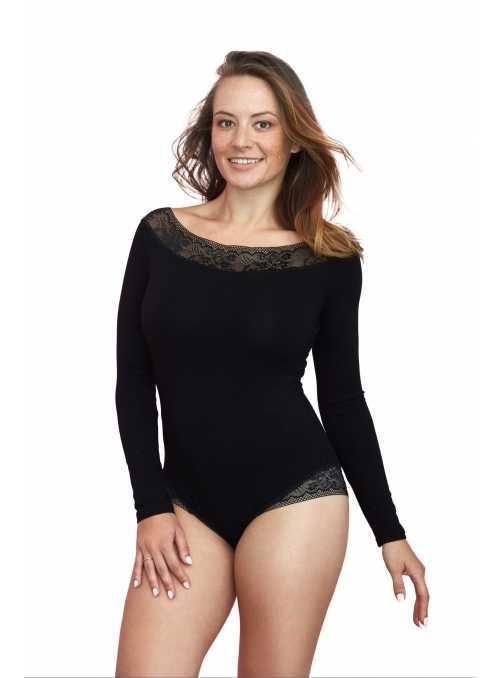 Black women's bodysuit with lace