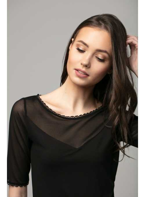 Black top with lace and chiffon neckline