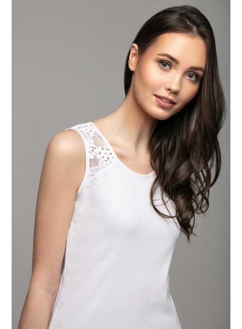 White top with lace on shoulders