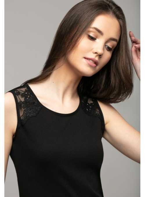 Black top with lace on shoulders