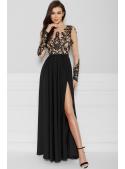 Maxi černé šaty s rozparkem - Černá krása