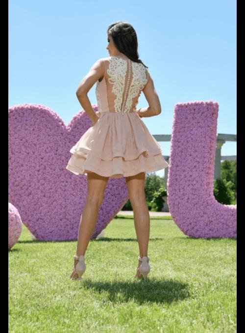 Mini Bride šaty, nude