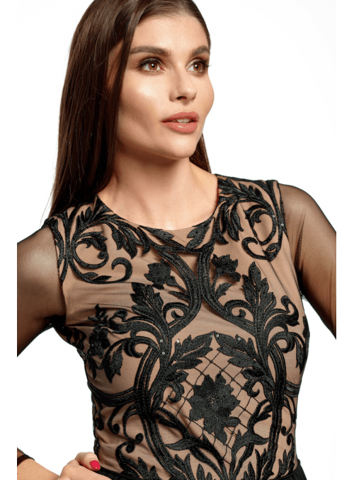 Maxi čierne šaty s rozparkom - Čierna kráska