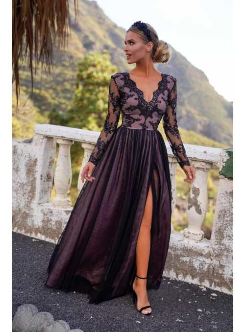 """Maxi šaty """"Adélka"""", černo-tělové"""