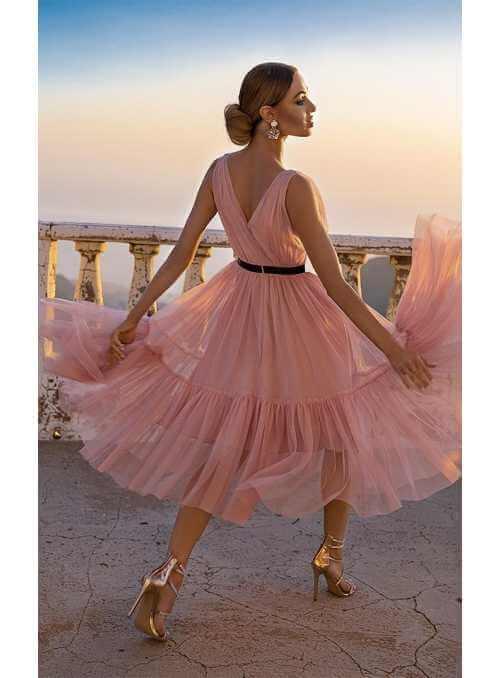 """Midi šaty """"Parížanka"""", pudrová ružová"""