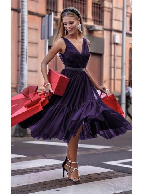 """Midi šaty """"Pařížanka"""", lilkové"""