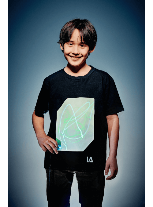 Dětské zábavní iluminační tričko černé + laser pero