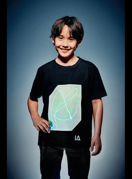 Detské zábavné iluminačné tričko čierne + laser pero