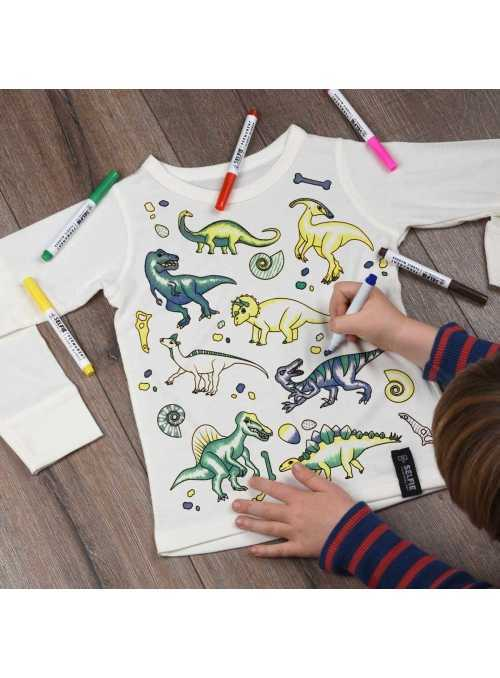 """""""Dinosaurs everywhere - top for coloring"""" cream"""