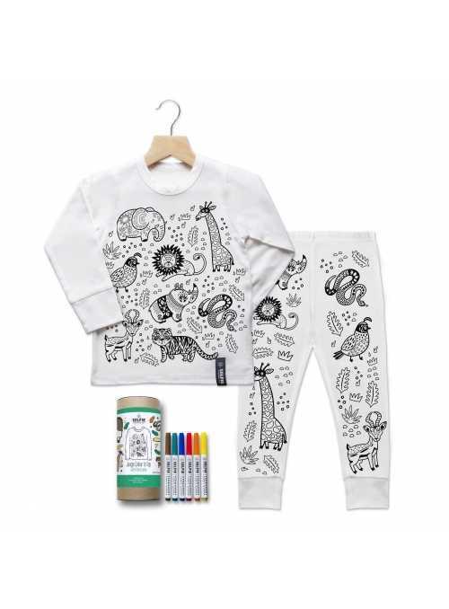 """""""Moja džungľa - detské pyžamo na vyfarbovanie"""", krémové"""