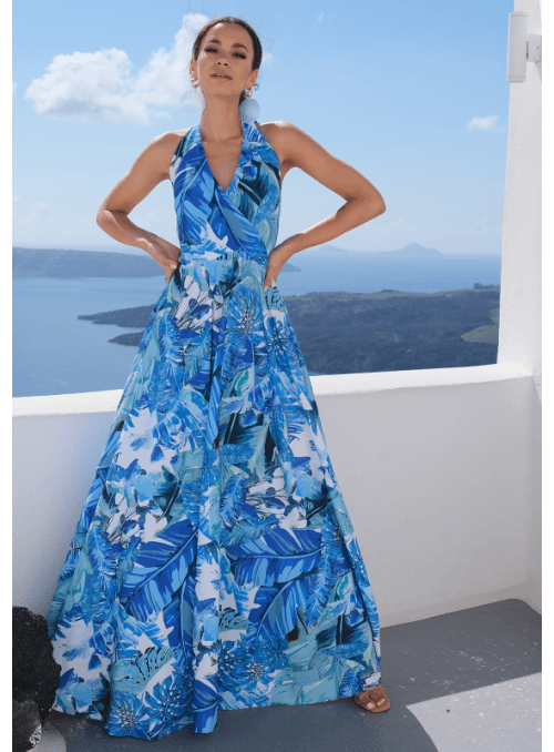 "Maxi Dress ""Blue rainforest"""