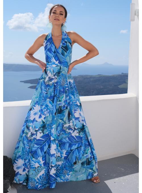 """Maxi šaty """"Modrý deštný prales"""" se zavazovačkou"""
