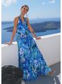 """Maxi šaty """"Modrý dažďový prales"""" so zaväzovačkou"""