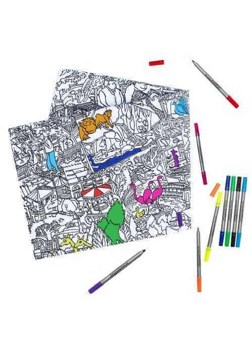 Život v ZOO - interaktívny obrus na vyfarbovanie, vyfarbuj a uč sa