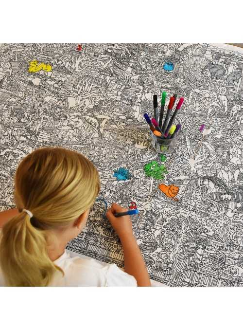 Life at the Zoo - interactive tablecloth for coloring, color and learn
