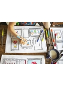 Paintings - Interactive table setting / 4 set / for coloring, color and learn