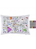 Mapa sveta - interaktívna obliečka na vankúš 75x50cm, vyfarbuj a uč sa