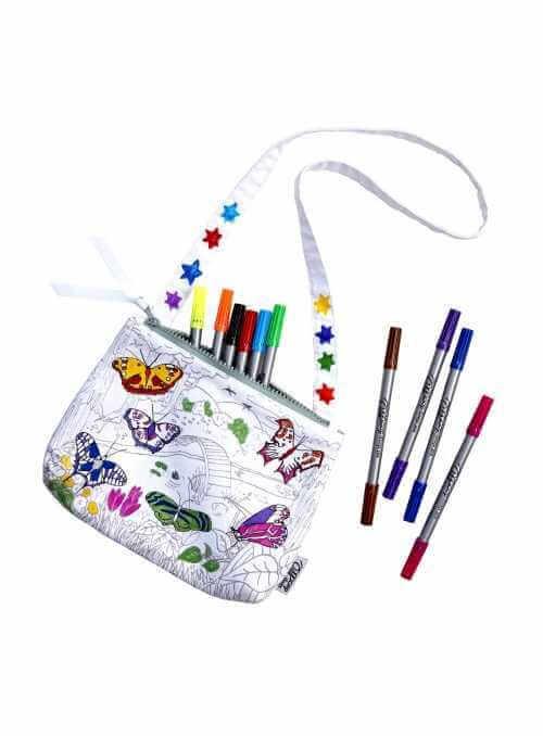 Motýlia záhrada - crossbody taška na vyfarbovanie- vyfarbuj a uč sa