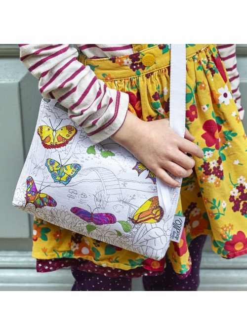Butterfly Garden - crossbody bag for coloring - color and learn