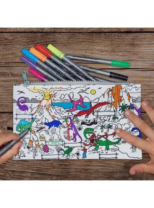 Můj dinosauří svět – interaktivní penál na vybarvování - vybarvuj a uč se