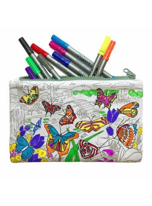 Motýlí zahrada -  interaktivní penál na vybarvování - vybarvuj a uč se