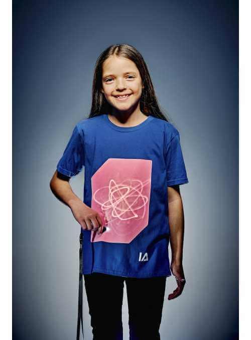 Modré detské zábavné iluminačné tričko /ružová svietiaca plocha/ + laser pero