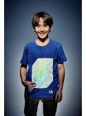 Modré detské zábavné iluminačné tričko /zelená svietiaca plocha/ + laser pero, 3-4 roky