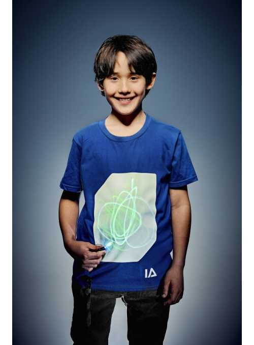 Modré detské zábavné iluminačné tričko /zelená svietiaca plocha/ + laser pero