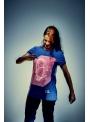 Modré zábavné iluminačné tričko /ružová svietiaca plocha/ + laser pero